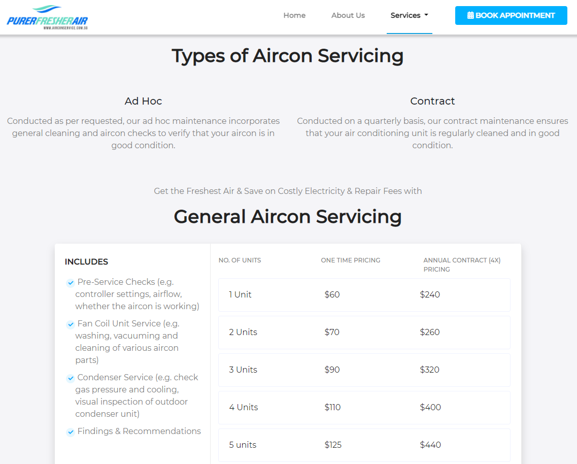 aircon servicing singapore pricing