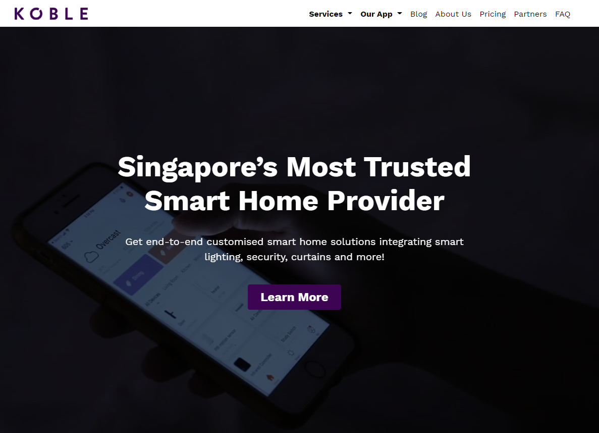 the smart home singapore website shows great visual hierarchy for website design guidelines