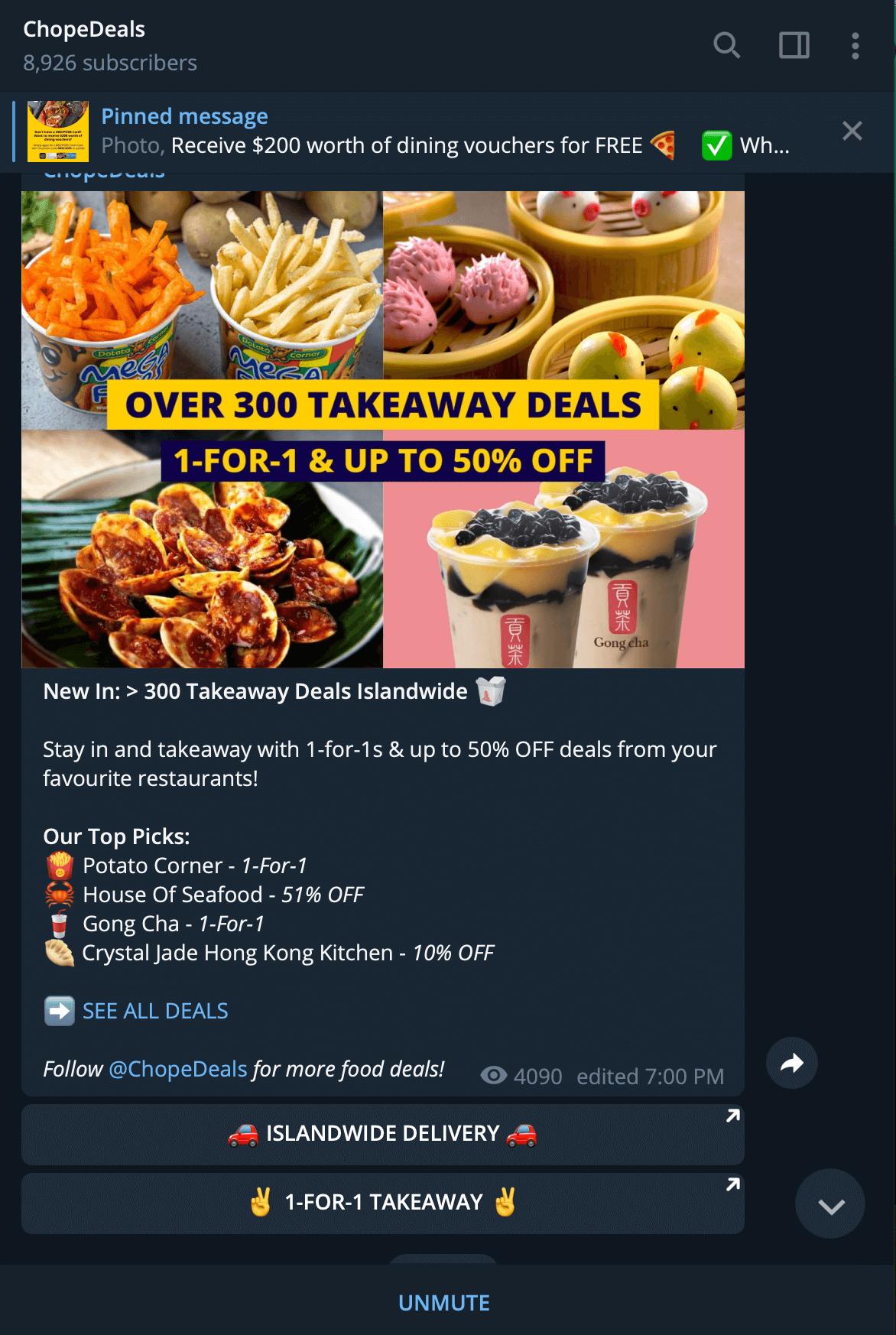 chopedeals, using telegram for f&b marketing