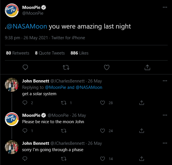 moonpie engages with audience to keep up with their competitors social media strategy game